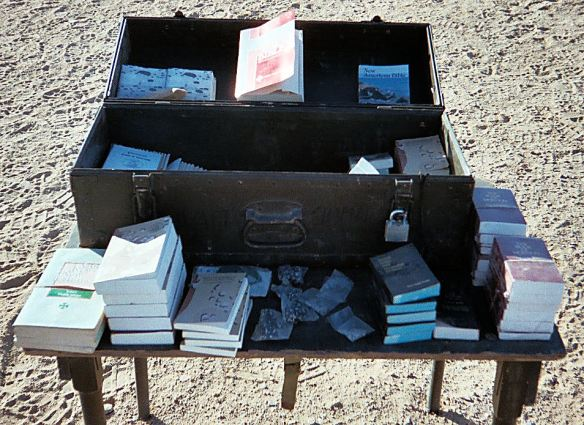 Table with Bibles in Kuwait, March 2003, just prior to invasion of Iraq.