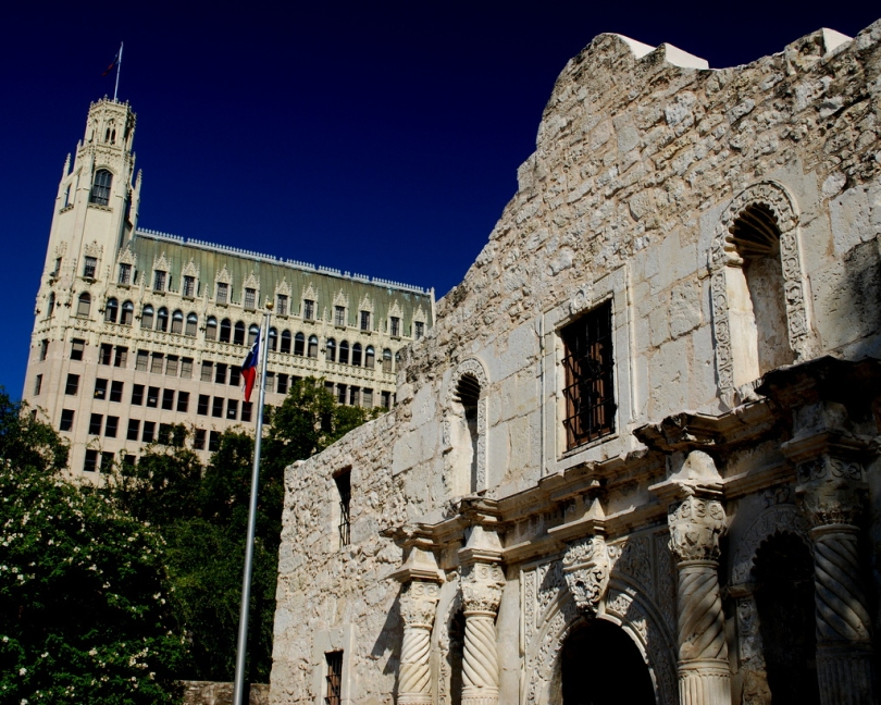 Mission San Antonio de Valero (The Alamo) and historic Emily Morgan Hotel