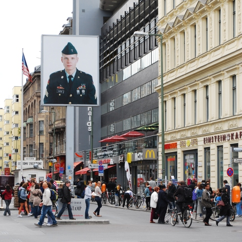 The wall and the checkpoint are gone, but western commerce has arrived at the former Checkpoint Charlie in Berlin.