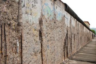 Remains of the Soviet era Berlin Wall near the ruins of the Nazi era Gestapo headquarters.